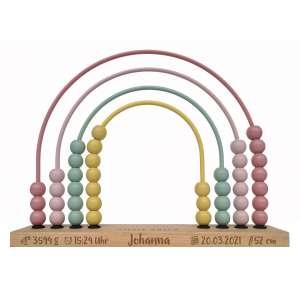 Little Dutch 4456 Holz Abacus Rechenschieber Regenbogen Rainbow Pink Rosa   by Schmatzepuffer® Laser Gravur