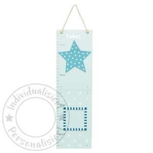 Messlatte Sterne blau/weiß aus Holz mit 2 Bilderrahmen klappbar | JaBaDaBaDo by Schmatzepuffer®