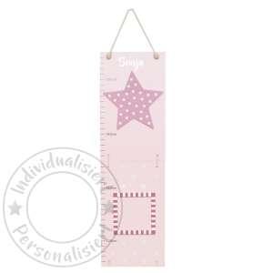 Messlatte Sterne rosa aus Holz mit 2 Bilderrahmen klappbar | JaBaDaBaDo by Schmatzepuffer®