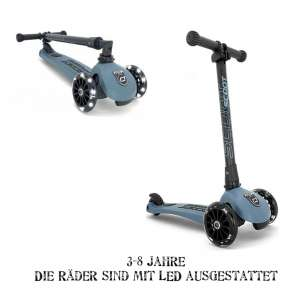 "Scoot and Ride Highwaykick 3 LED Scooter / Roller steel blue | by Schmatzepuffer® ""inklusive Namensaufkleber"" online kaufen"