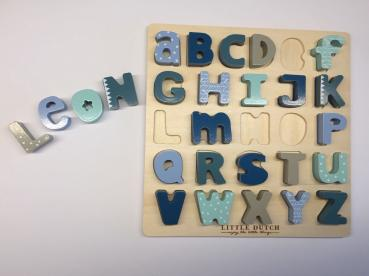 Little Dutch 4370 Holzpuzzle Alphabet – mint